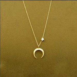 Simple Moon and Star necklace